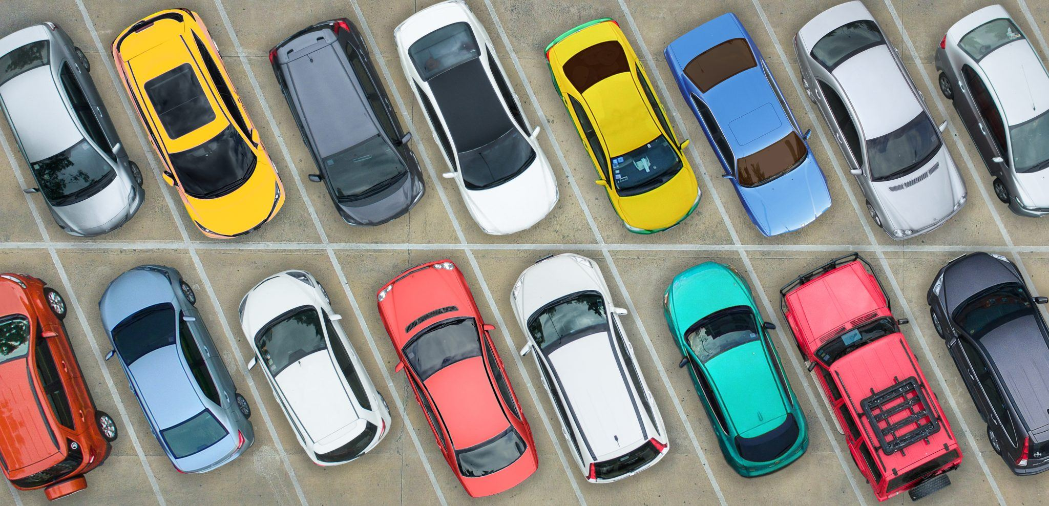 Overhead view of vehicles parked